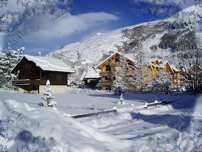 Chalet in winter.