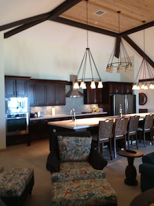 The GREAT room with a 17 foot kitchen island, and 2 full size refrigerators.