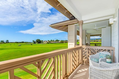 Golf course and distant ocean views off living room lanai