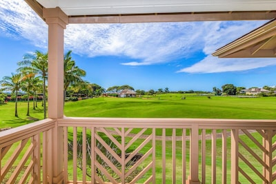 Golf course and distant ocean view off living room lanai