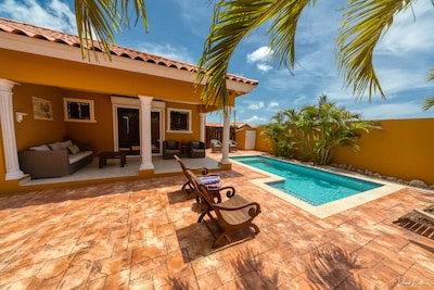 Salt Water Pool Lounge Area with Covered Patio. Extremely Private Back Yard!