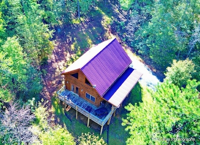 Drone view! Privately located cabin with access to private lake,beach and river