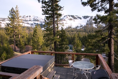 deck with hot tub, gas BBQ, and Sugar Bowl view