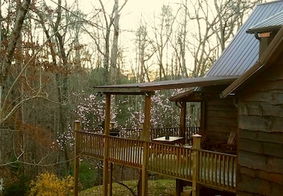 Large wrap around deck with rocking chairs, log picnic table, grill and privacy