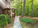 Walkway to front door. 3 story log cabin in the mountains!