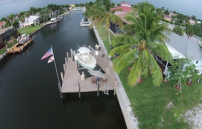 Water view of dock and property.