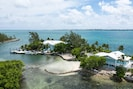 View of Middle Cay facing the beach! You see the main house and the cottage