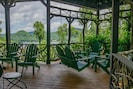 Lake and Mountain views from our covered gazebo and covered decks
