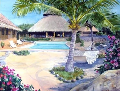 This beautiful painting of Yoga del Pacifico was a gift from Connie Cohen.