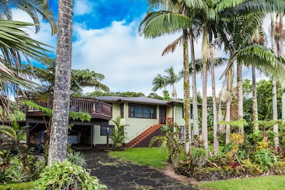 A charming Hawaiian Home nestled in lush landscape