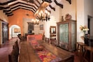 Great Room. Antique dining table for 8.