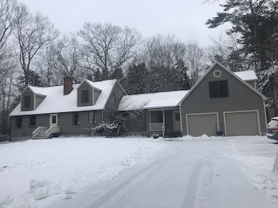 A view of snowy winter, the front of the house.