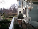 Deck off of Music room over looks the Fountain Courtyard and gardens......