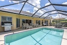 Sunny western exposure and plenty of room to lounge or dine by the pool.