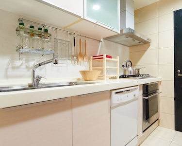 Modern kitchen with convection oven and dishwasher. 廚房設有洗碗機及烤箱