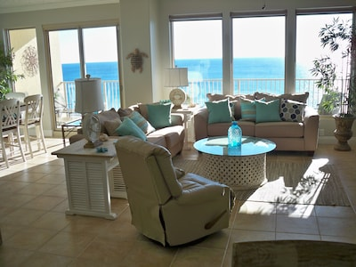 Living area has great views and a recliner!