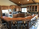 Gourmet Kitchen with 6 wine barrel bar stools