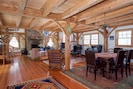 Timberframe Great Room - size and scale of a ski lodge.  Second dining area.
