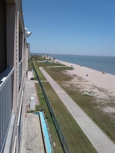 April 15 2018 View from Balcony to the left showing 1 mile boardwalk to park