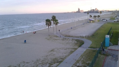 This is the view of downtown Corpus.  Take boardwalk to shops and restaurants.