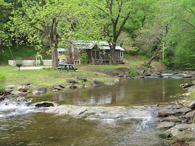 A view of the Wildacre Cabin from across the creek.