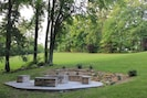 Fire Pit with Stone Sitting Walls