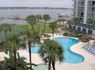 Watch the boats and jet skis go by while enjoying the pool and hot tub.