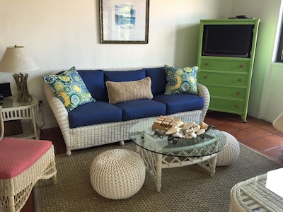 Comfortable living space with updated décor and plenty of seating.