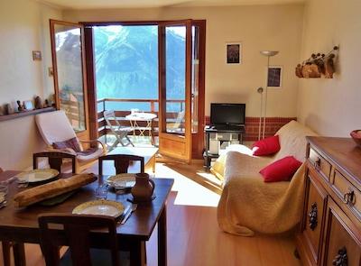 salon, salle à manger, balcon sud