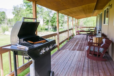 Sit for a while and take in the views or cook on the grill.