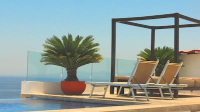 rooftop with an amazing view to the beach, ocean, pear, the whole Banderas Bay