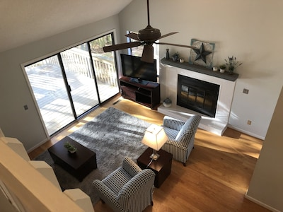 View from loft of living room