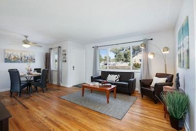 Beautiful Open Floor plan with Hardwood Floors: light and bright.