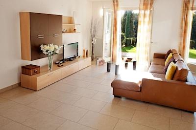 The home enjoys a sunny aspect.