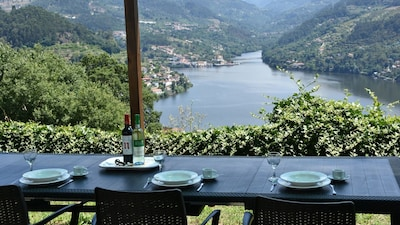 The fabulous view of the River Douro from the garden, under new shady pergola.