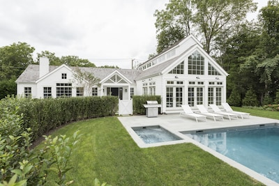 Safety gates,  privet-enclosed,  private pool, spa, and pool house.