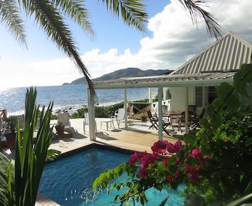 Breathtaking vista of Shell Villa - just feet from the ocean