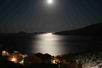 View from villa by moonlight