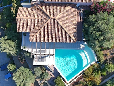 Villa Paradiso with surrounding area and pool