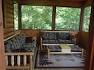 Screened in porch comfortably seats 6-7 and as great lake and mountain views