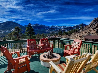 Main deck with view of Long's Peak, Twin Sisters and the Continental Divide