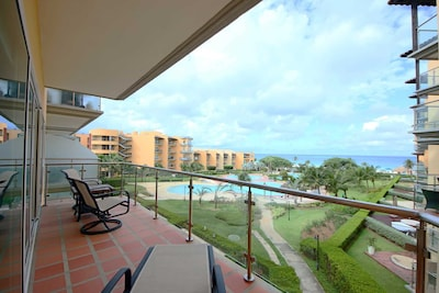 Balcony with the resort and ocean view