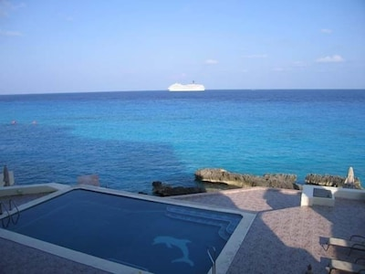 The pool area from the balcony