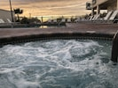 View from hot tub at sunset
