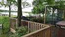 Deck with grill, outside shower, and hot tub (cooler months only).