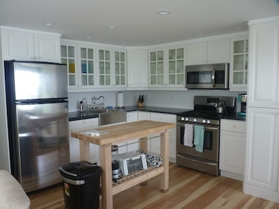 Soapstone countertops and stainless steel appliances.