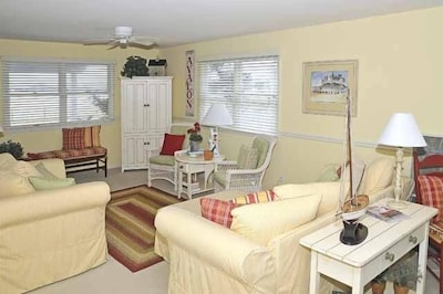 Comfortable living room for visiting, reading or watching television.