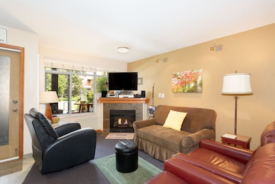 Living room in early spring. Gas fireplace. New Smart TV on moveable arm.