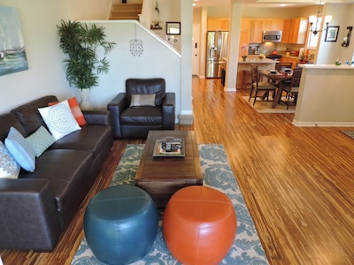 Main floor has open plan with lots of natural light.
