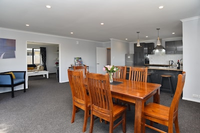 Open plan living area, dining area, kitchen